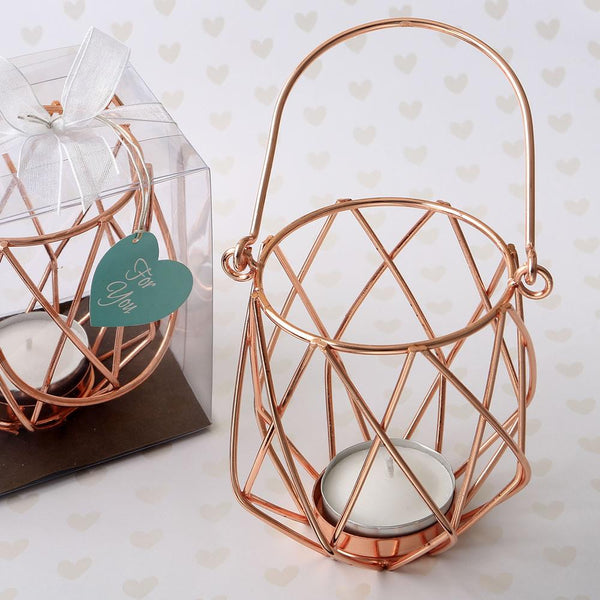 Geometric design rose gold metal tealight candle holder-Wedding Reception Decorations-JadeMoghul Inc.