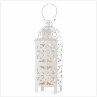 GIANT-SIZE WHITE MEDALLION LANTERN-Seasonal Merchandise/Gifts-JadeMoghul Inc.