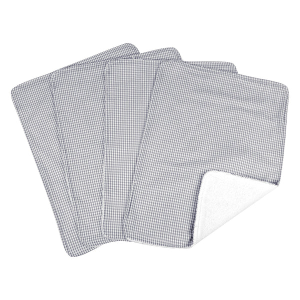 Gingham Seersucker Gray 4 Pack Burp Cloth Set-SRS-GRY-JadeMoghul Inc.