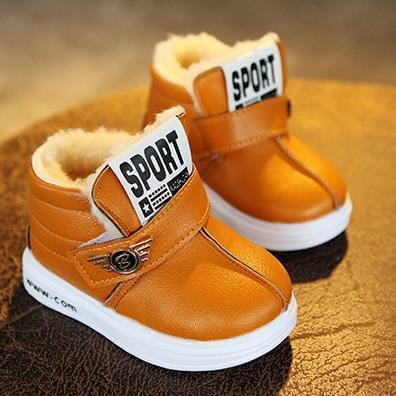 Girl boy snow boots Winter for toddlers child kid comfort thick antislip short boots elastic band leather cotton-padded shoes-Gun color-6-JadeMoghul Inc.