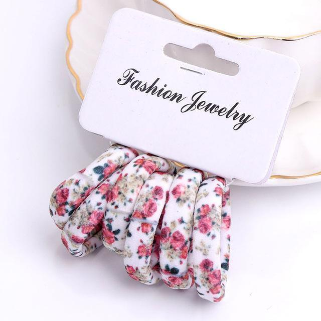 Girls 6 PCS Cotton Print Hair Ties-1-JadeMoghul Inc.