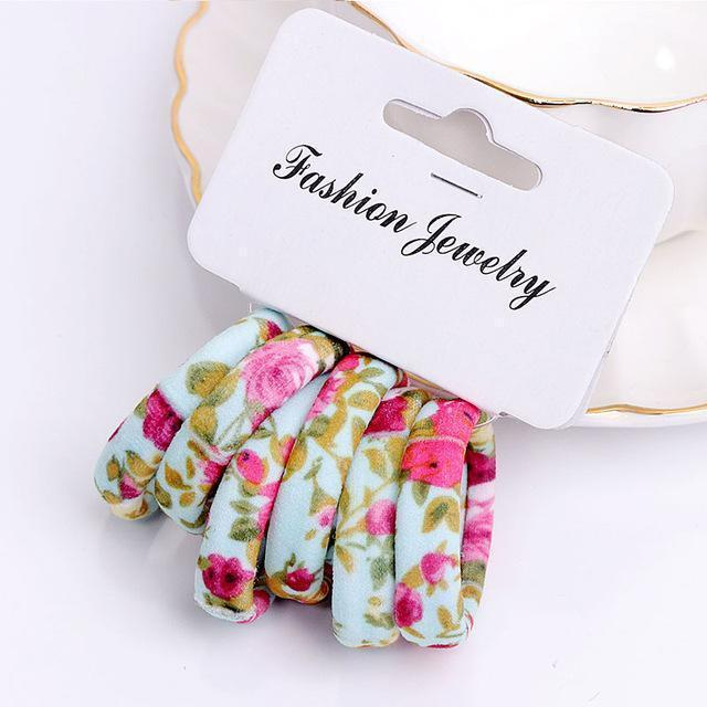 Girls 6 PCS Cotton Print Hair Ties-9-JadeMoghul Inc.