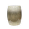 Glazed Ceramic Garden Stool with Ombre Effect, Beige and White-Patio Furniture-Beige and White-Ceramic-JadeMoghul Inc.