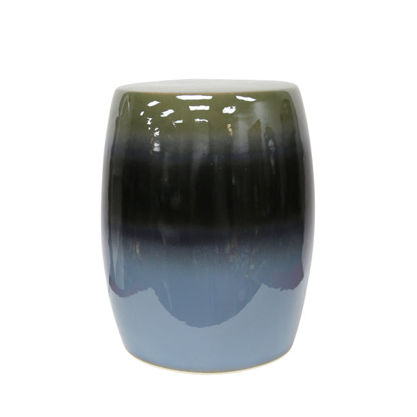 Glazed Ceramic Garden Stool with Ombre Effect, Green and Blue-Patio Furniture-Green and Blue-Ceramic-JadeMoghul Inc.