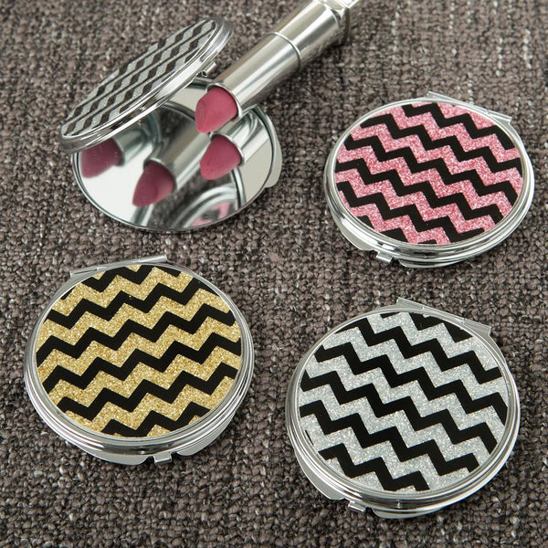 Glitter Chevron compact mirror from gifts by fashioncraft-Personalized Gifts for Men-JadeMoghul Inc.