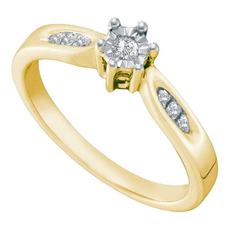 Gold & Diamond Engagement & Anniversary Rings Yellow-tone Sterling Silver Women's Round Diamond Solitaire Bridal Wedding Engagement Ring JadeMoghul