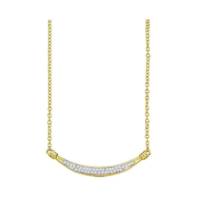Gold & Diamond Pendants & Necklaces 10kt Yellow Gold Women's Round Diamond Curved Bar Pendant Necklace 1-6 Cttw - FREE Shipping (US/CAN) JadeMoghul