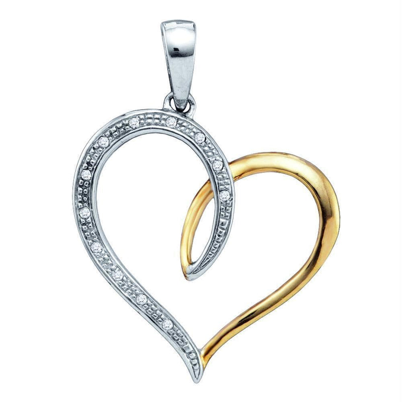 Gold & Diamond Pendants & Necklaces Sterling Silver Women's Round Diamond Two-tone Heart Pendant 1-20 Cttw - FREE Shipping (US/CAN) JadeMoghul