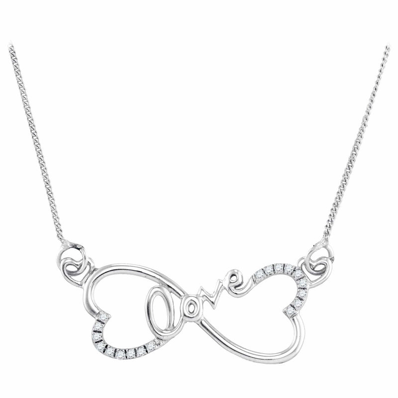 Gold & Diamond Pendants & Necklaces Sterling Silver Womens Round Diamond Heart Infinity Love Pendant Necklace 1-10 Cttw JadeMoghul Inc.