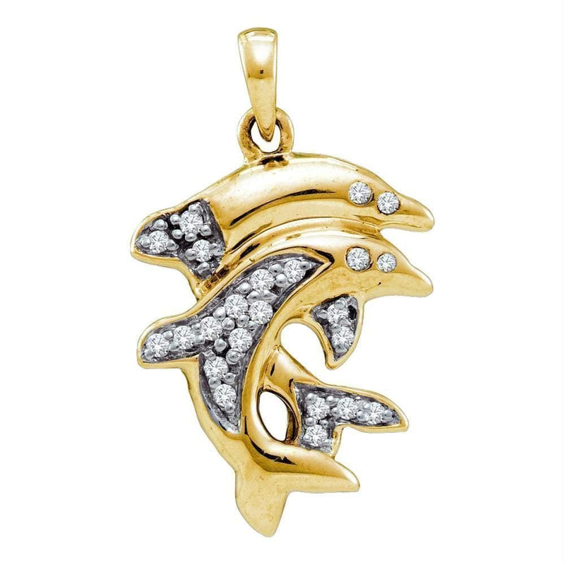 Gold & Diamond Pendants & Necklaces Yellow-tone Sterling Silver Women's Round Diamond Dolphin Animal Pendant 1-6 Cttw - FREE Shipping (US/CAN) JadeMoghul