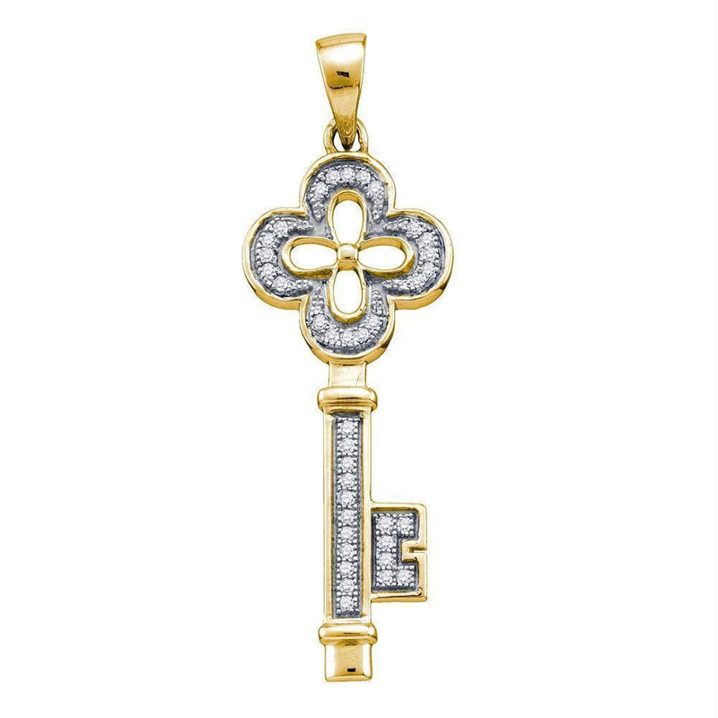 Gold & Diamond Pendants & Necklaces Yellow-tone Sterling Silver Women's Round Diamond Key Love Pendant 1-8 Cttw - FREE Shipping (US/CAN) JadeMoghul