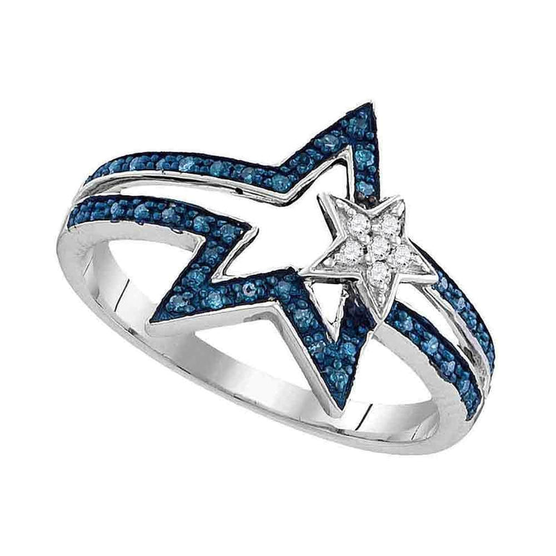 Gold & Diamond Rings Sterling Silver Women's Round Blue Color Enhanced Diamond Double Star Ring 1/6 Cttw - FREE Shipping (US/CAN) JadeMoghul