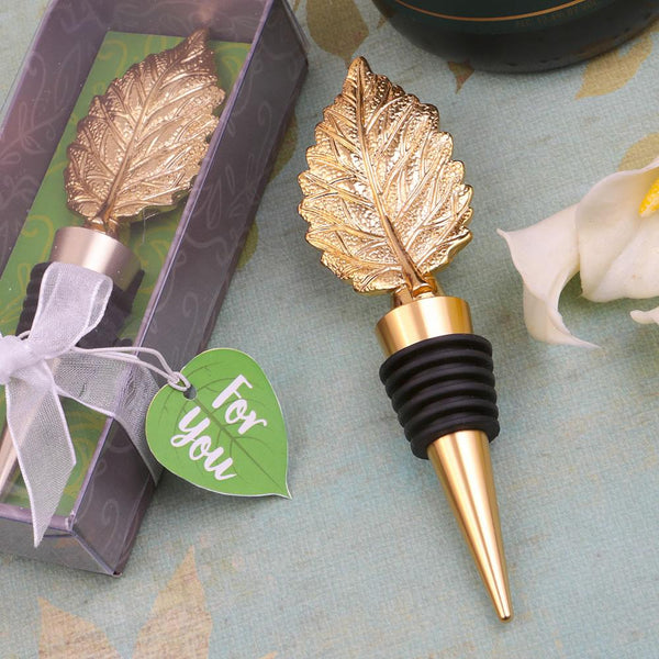 gold metal leaf design bottle stopper-Personalized Coasters-JadeMoghul Inc.