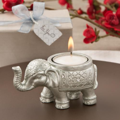 Good luck silver Indian elephant candle holder-Wedding Reception Decorations-JadeMoghul Inc.