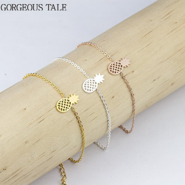 GORGEOUS TALE Trendy Stainless Steel Silver Chain Pineapple Bracelet For Women Men Jewelry 2017 New Rose Gold Charm Bracelet-Gold-color-JadeMoghul Inc.