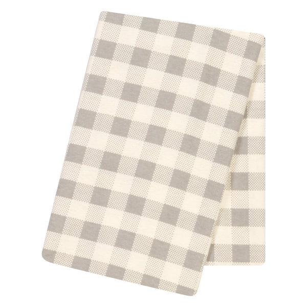 Gray and Cream Buffalo Check Jumbo Deluxe Flannel Swaddle Blanket-GRAY-JadeMoghul Inc.