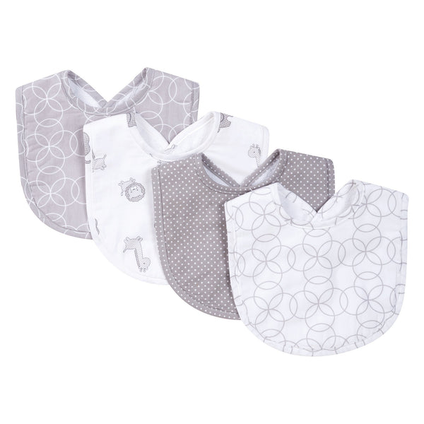 Gray and White Circles 4 Pack Bib Set-GRAY CRC-JadeMoghul Inc.