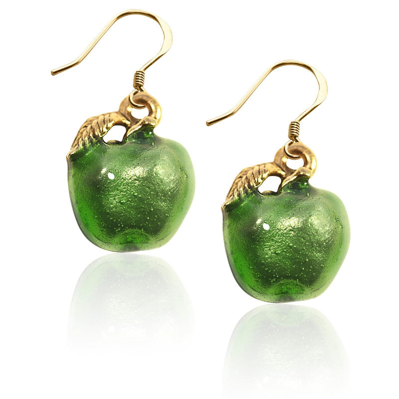 Green Apple Charm Earrings in Gold-Charm-JadeMoghul Inc.