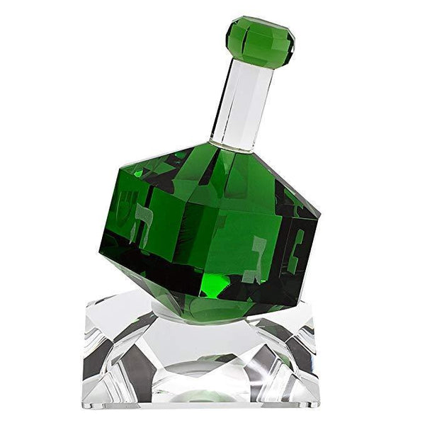 Green Crystal Hand cut Dreidel on Crystal StandÊ-Seasonal Merchandise/Gifts-JadeMoghul Inc.