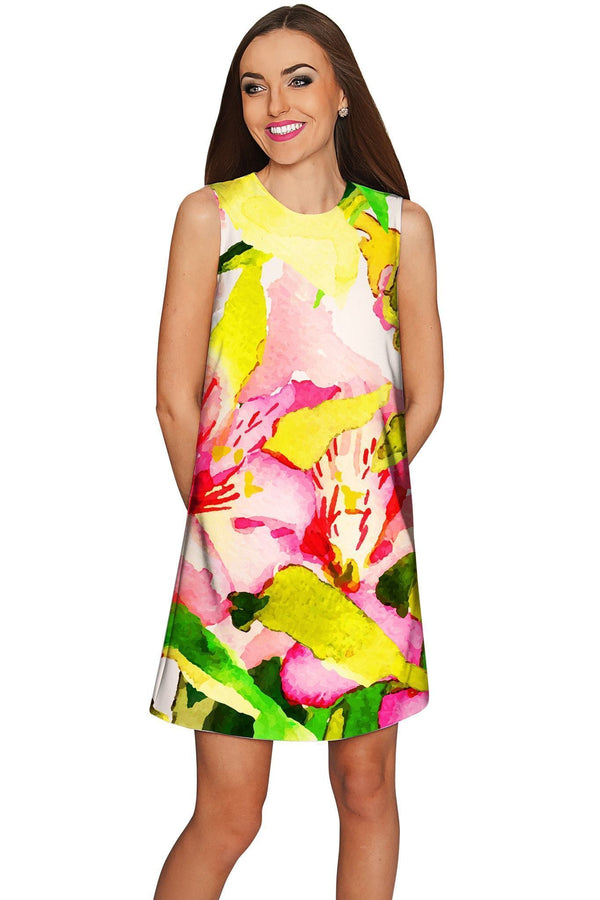 Havana Flash Adele Bright Summer Shift Dress - Women-Havana Flash-XS-Green/Pink/Yellow-JadeMoghul Inc.