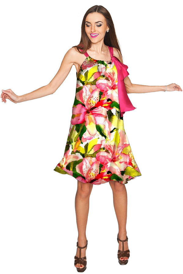 Havana Flash Melody Summer Chiffon Dress - Women-Havana Flash-XS-Green/Pink/Yellow-JadeMoghul Inc.