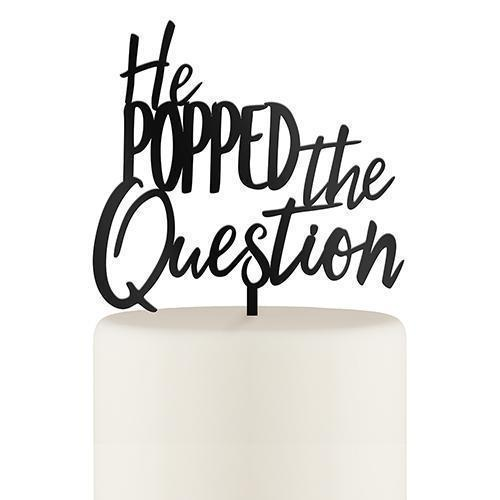 He Popped the Question Acrylic Cake Topper - Black (Pack of 1)-Wedding Cake Toppers-JadeMoghul Inc.