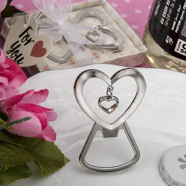 Heart shaped silver metal bottle opener with dangling heart design-Personalized Coasters-JadeMoghul Inc.