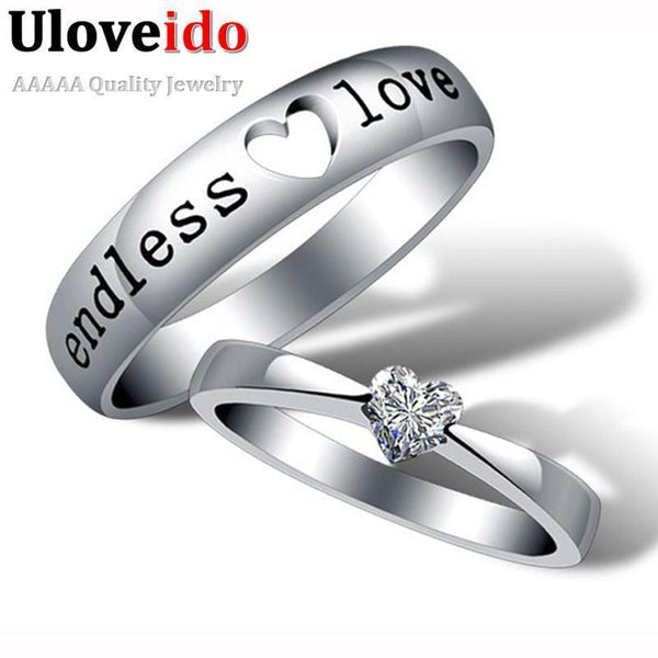 Heart Zircon Endless Love Engagement Ring Wedding Couple Rings Aneis Mens Jewelry Commitment Rings Silver Ringen Anel Bague J205-5.5-White-Platinum Plated-JadeMoghul Inc.