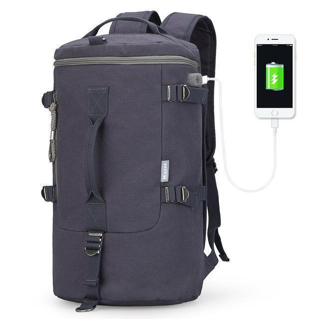 High Capacity Travel Bag / New Cylinder Multifunction Backpack-Blue Black USB-China-JadeMoghul Inc.