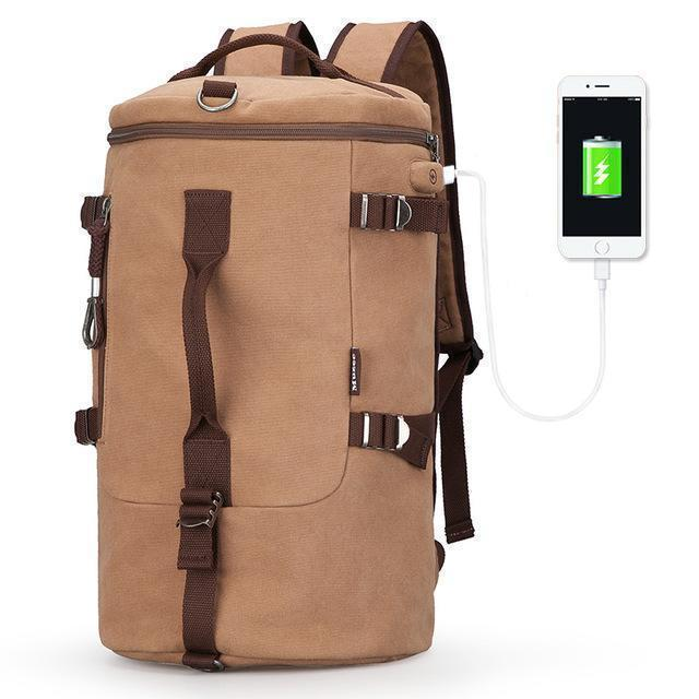 High Capacity Travel Bag / New Cylinder Multifunction Backpack-Light Coffee USB-China-JadeMoghul Inc.