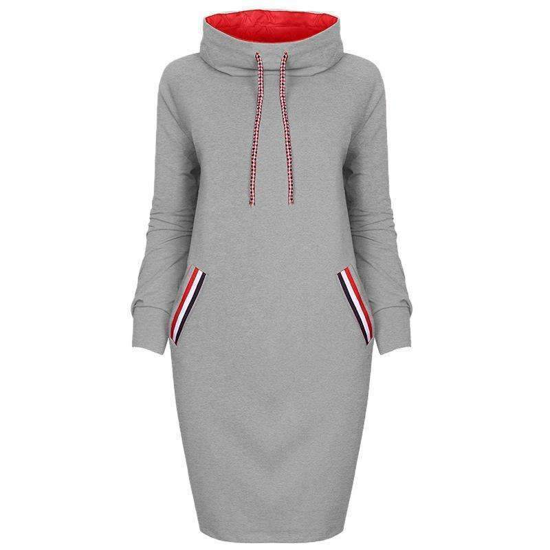 High Neck Sexy Strap Casual Dress - Female Party Dresses-0586grey-S-JadeMoghul Inc.