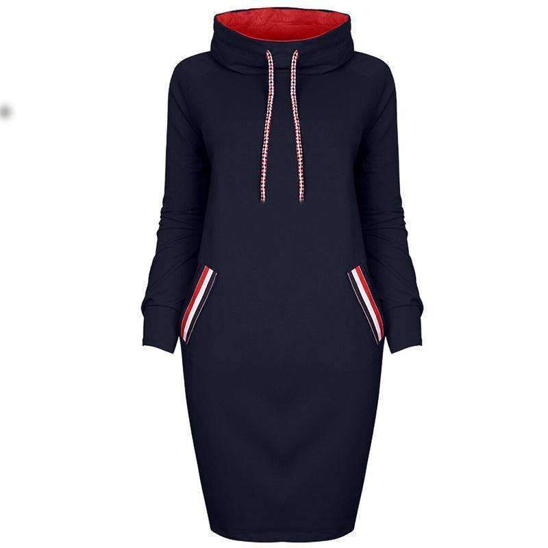 High Neck Sexy Strap Casual Dress - Female Party Dresses-0586navy-S-JadeMoghul Inc.