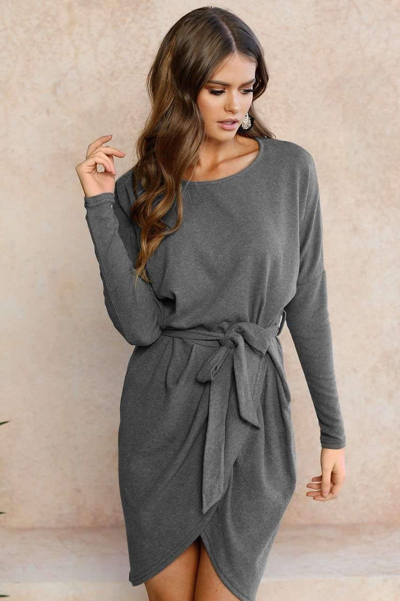 High Neck Sexy Strap Casual Dress - Female Party Dresses-17322grey-S-JadeMoghul Inc.