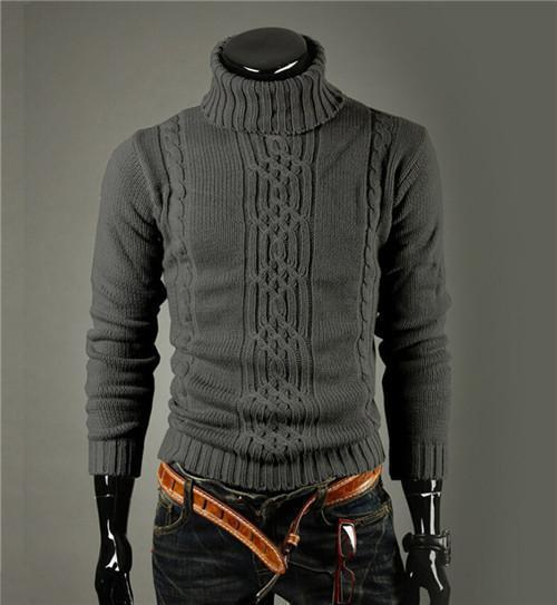 High Quality Casual Sweater For Men / Long Sleeve Turtle Neck Knitwear-dark grey-M-JadeMoghul Inc.