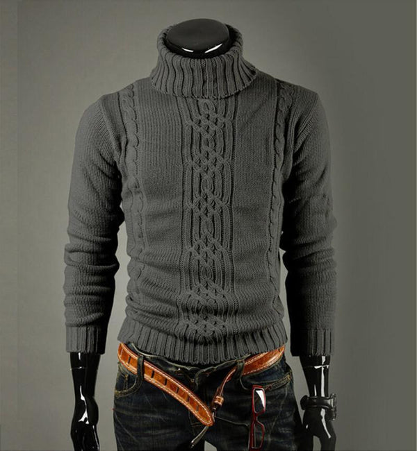 High Quality Casual Sweater For Men / Long Sleeve Turtle Neck Knitwear-Light grey-M-JadeMoghul Inc.