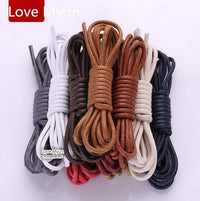 High Quality Shoelaces Waterproof Leather Shoes Laces Round Shape Fine Rope White Black Red Blue Purple Brown Shoelaces-as picture-JadeMoghul Inc.