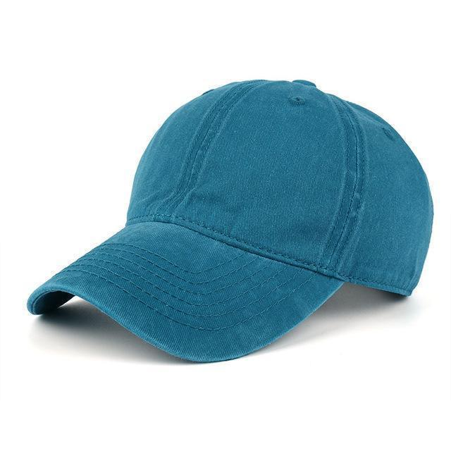 High quality Washed Cotton Adjustable Solid Baseball Cap / Unisex Cap-Blue-JadeMoghul Inc.