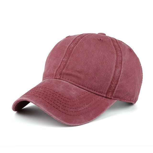 High quality Washed Cotton Adjustable Solid Baseball Cap / Unisex Cap-Burgundy-JadeMoghul Inc.
