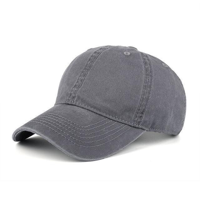 High quality Washed Cotton Adjustable Solid Baseball Cap / Unisex Cap-Grey-JadeMoghul Inc.