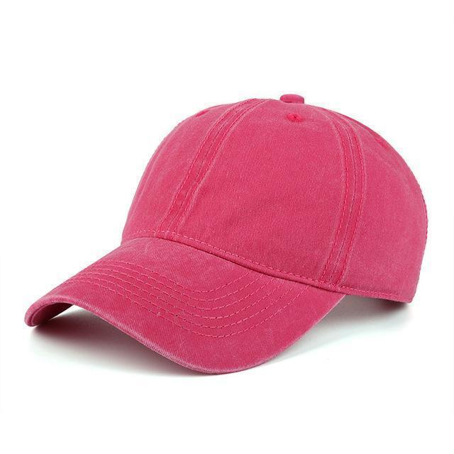 High quality Washed Cotton Adjustable Solid Baseball Cap / Unisex Cap-Hot pink-JadeMoghul Inc.