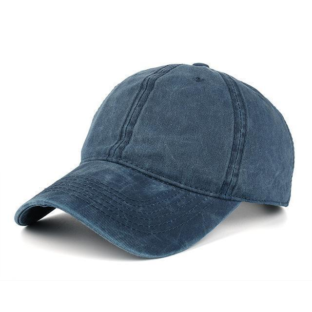 High quality Washed Cotton Adjustable Solid Baseball Cap / Unisex Cap-Navy-JadeMoghul Inc.