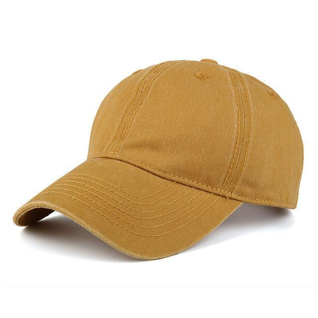High quality Washed Cotton Adjustable Solid Baseball Cap / Unisex Cap-Yellow-JadeMoghul Inc.