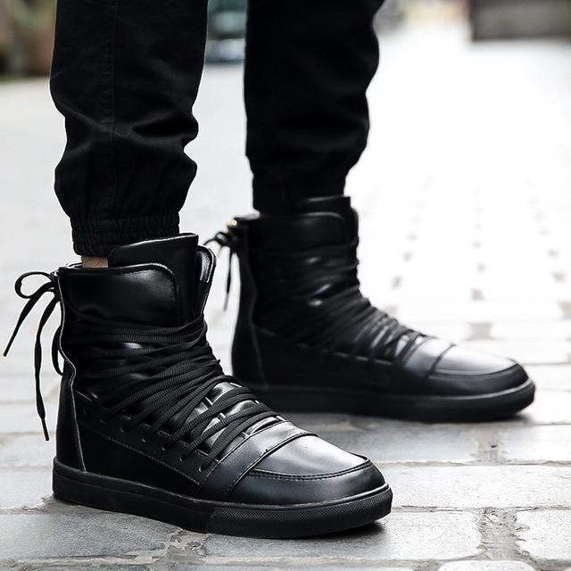 High Top Men Shoes / PU Leather Boots-Black-9-JadeMoghul Inc.