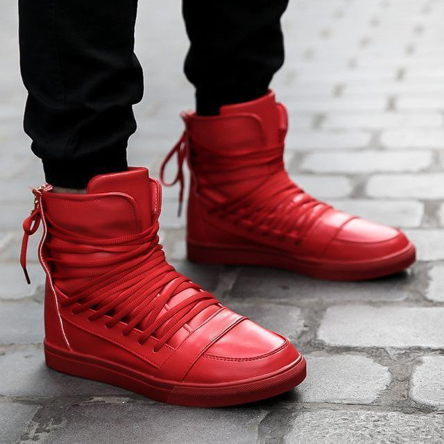 High Top Men Shoes / PU Leather Boots-Red-9-JadeMoghul Inc.