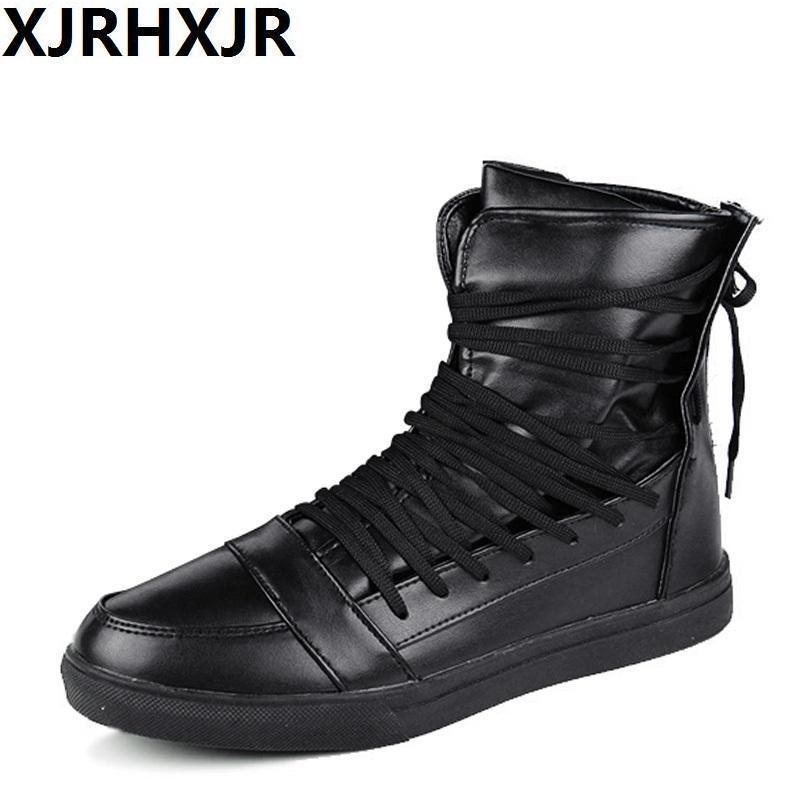 High Top Men Shoes / PU Leather Boots-White-9-JadeMoghul Inc.