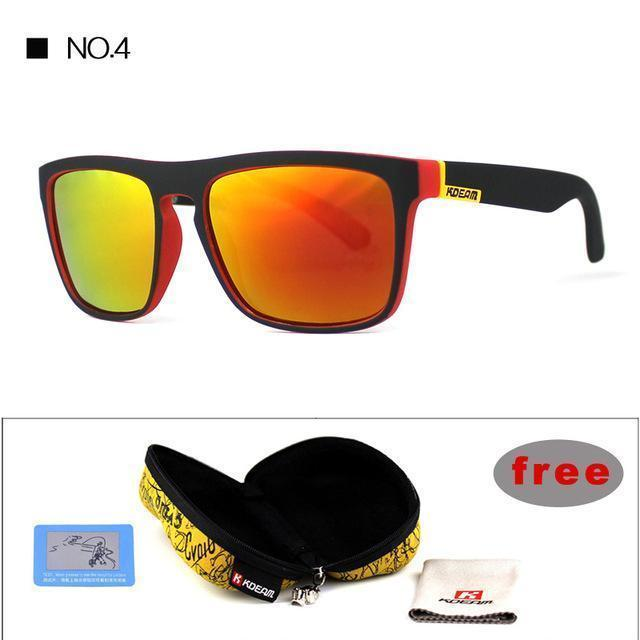 Highly Recommended KDEAM Mirror Polarized Sunglasses Men Square Sport Sun Glasses Women UV gafas de sol With Peanut Case KD156-NO4-Polarized with case-JadeMoghul Inc.
