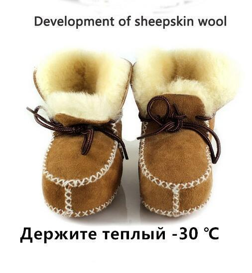 Hongteya winter Genuine Leather baby shoes boots infants warm shoes fur wool girls baby booties Sheepskin boy baby boots-camel-2-JadeMoghul Inc.