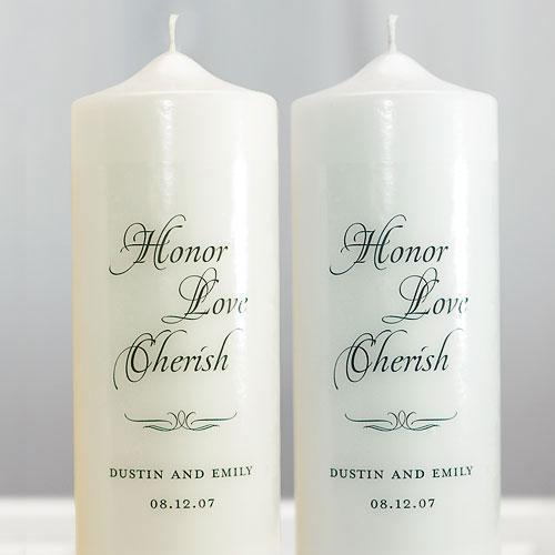 Honor Love Cherish Personalized Unity Candle White (Pack of 1)-Wedding Reception Decorations-JadeMoghul Inc.