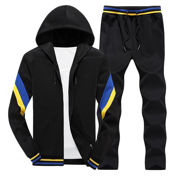 Hooded Top & Casual Bottom Suit Set - Men Track Suit-K214 black only pant-S-JadeMoghul Inc.