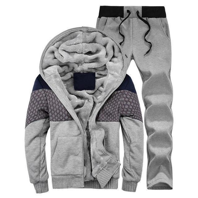 Hooded Tracksuit / Winter Thick Inner Fleece Set-D21 gray-S-JadeMoghul Inc.